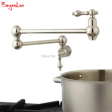 Bagnolux High Quality Wall Mounted Dual Shut Off Valve Pot Filler Faucet with 22″ Double-Jointed Swinging Spout Lever Handles