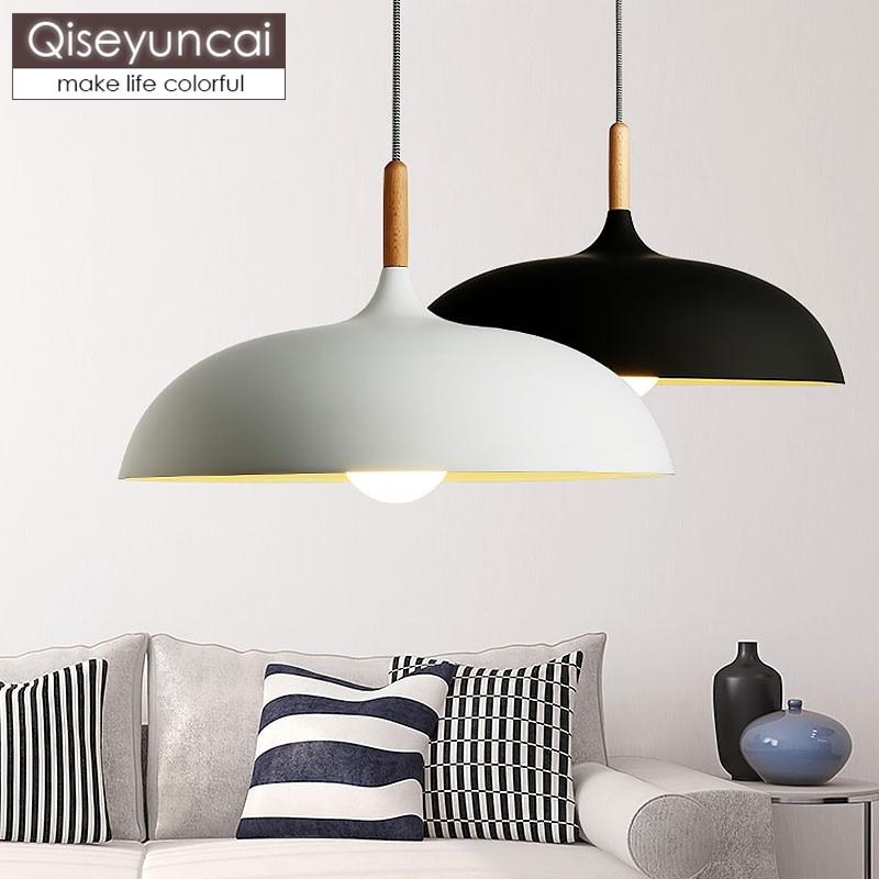 Qiseyuncai Modern fashion Black & White E27 Pendant lamps for creative Nordic Restaurant/Bedroom Pendant lights AC 90~260VQiseyuncai Modern fashion Black & White E27 Pendant lamps for creative Nordic Restaurant/Bedroom Pendant lights AC 90~260V