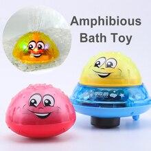 Juguetes de baño Agua pulverizada con luz giratoria para niños, juguetes para niños pequeños, juguetes de baño con luz LED