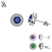 цена SA SILVERAGE  Fine Jewelry Three Colors Pendientes 925 Sterling Silver Gemstone Stud Earrings for Women 925 Silver Earrings Sets онлайн в 2017 году