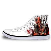 Noisydesigns Весна вулканизированной обувь мужские стильные супер герой Дэдпул печатных высокие парусиновые туфли на шнуровке мужская обувь кро...