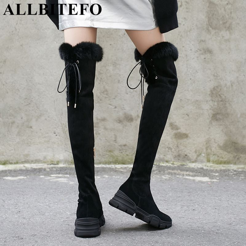 ALLBITEFO brand natural genuine leather +flock women over knee boots sexy high heel lace up thigh high boots girls high boots allbitefo natural genuine leather women boots high quality winter girls knee high long boots fashion thigh high boots for woman