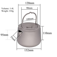 Pure Titanium 1.4L Water Coffee pot Tea kettle 210g Anti corrosion with Scald preventing Handle Portable for Outdoors
