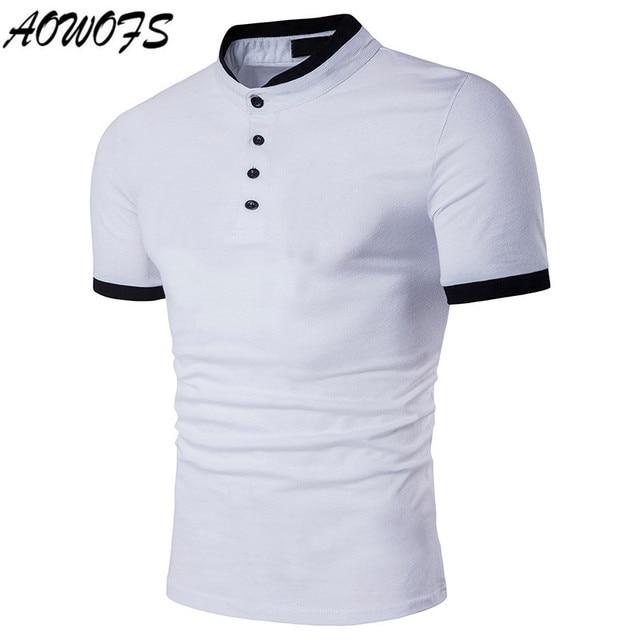 439ae1c24 2018 dos homens Camisa Pólo de Algodão Sólida Camisa Gola Polo de Manga  Curta Camisa Polo