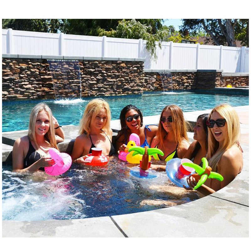 Rooxin Inflatable Drink Beer Holder Cup Holder for Pool Mermaid Cactus Float Swimming Ring Beverage Holder Water Fun Party