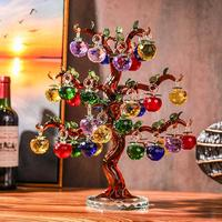 Crystal Apple Tree Ornaments 36pcs 18pc Hangs Apples Glass Fengshui Crafts Home Decor Figurines Christmas New Year Gift Souvenir