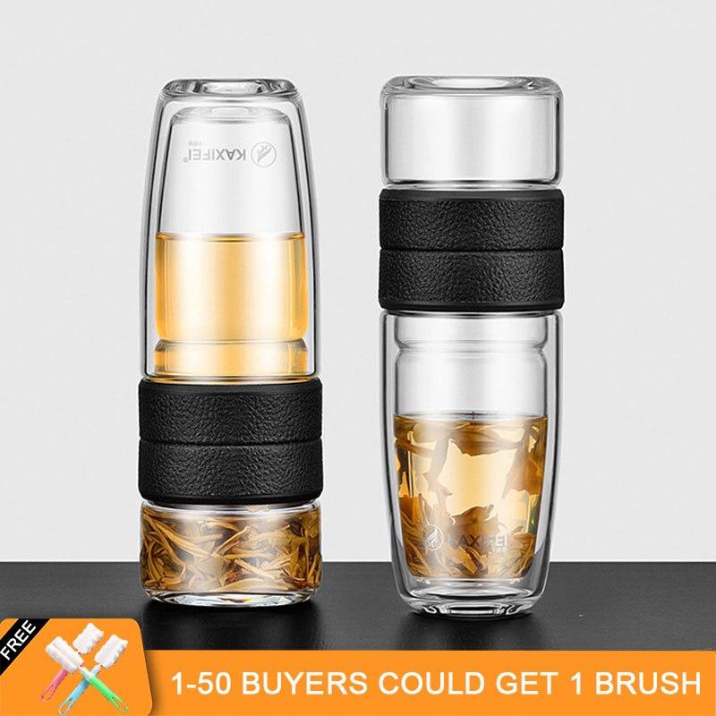 ZOOOBE Il Mio Doppia Parete di Vetro Della Bottiglia di Acqua del Tè Tè Infusore Bicchiere di Vetro Filtro In Acciaio Inox Portatile Regalo di Bussiness per L'uomo