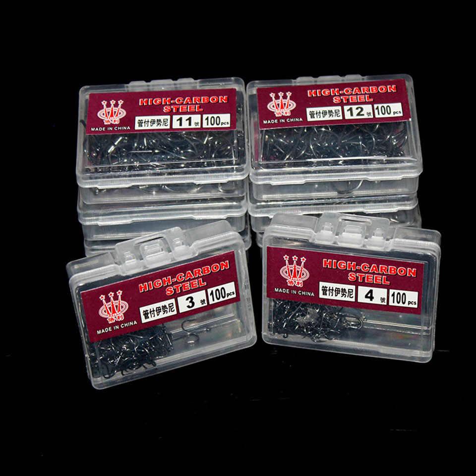 Anzóis farpados de alto carbono, anzóis para pesca com isca macia, de alta eficiência, 100 peças