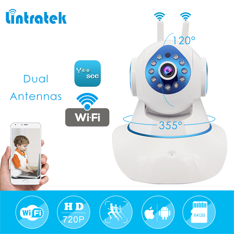 lintratek Wireless Wifi Ip Camera Wi-Fi Mini CCTV Camera Hd 720P 1.0mp Home Security Surveillance Camera Dual Antennas Ip Cam цена
