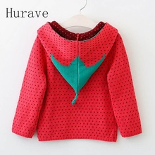 Hurave 2017 girls sweater Strawberry print kids autumn clothes children fashion new brand style fro toddler