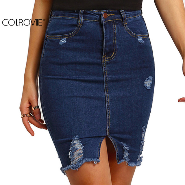 COLROVIE Fashion Clothing Women Sexy Skirts Free Shipping 2017 Plain Navy Ripped Front Split Denim Short Skirt