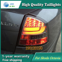 JGD Brand New Styling for Skoda Octavia Tail Lights 2007 2009 LED Tail Light Rear Lamp LED DRL Singal Car Lights