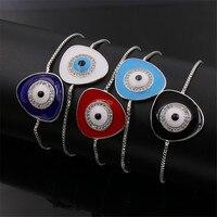 NJ Triangulaire Géométrique Cristal Blanc, Noir, bleu, Rouge, Royal Émail bleu Evil Eye Bracelet Télescopique Chaîne bijoux turc