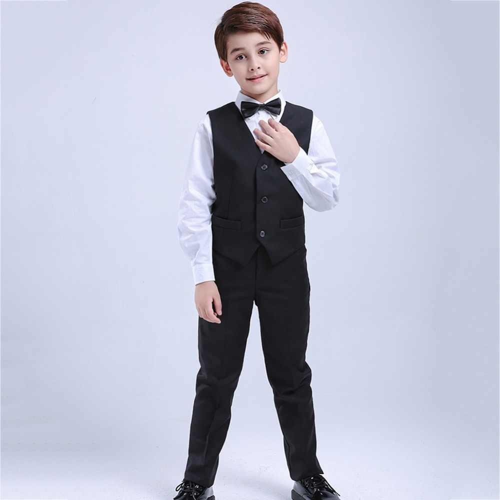 db0bc39a2 ... 5 piezas negro niño niños trajes de boda Formal traje de niños vestido  de esmoquin de ...