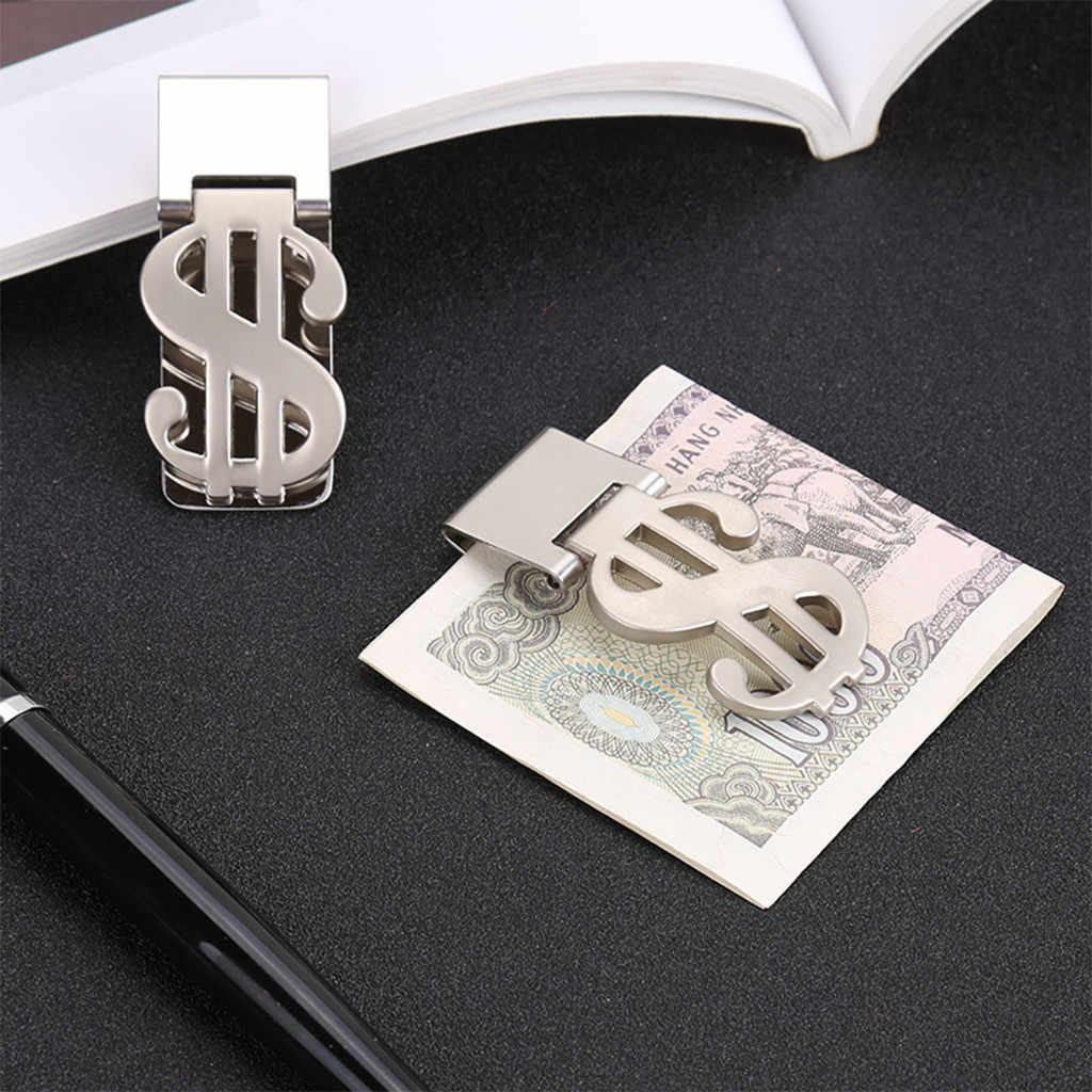 1 x Clip de dinero dólar signo tarjetero abrazadera delgada Acero inoxidable monedero único signo de dólar 5,8x2,3 cm # WS