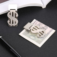 1PC metal wallet Money Clip Dollar Sign Card Holder stainless steel color Slim Clamp Stainless Steel Wallet Purse#703Y40(China)