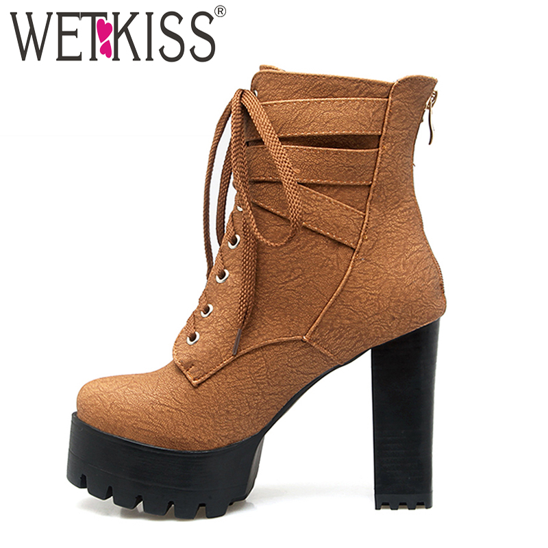 WETKISS 2018 Super Big Size 33 48 Motorcycle Women s Ankle Boots Buckle Strap Thick High