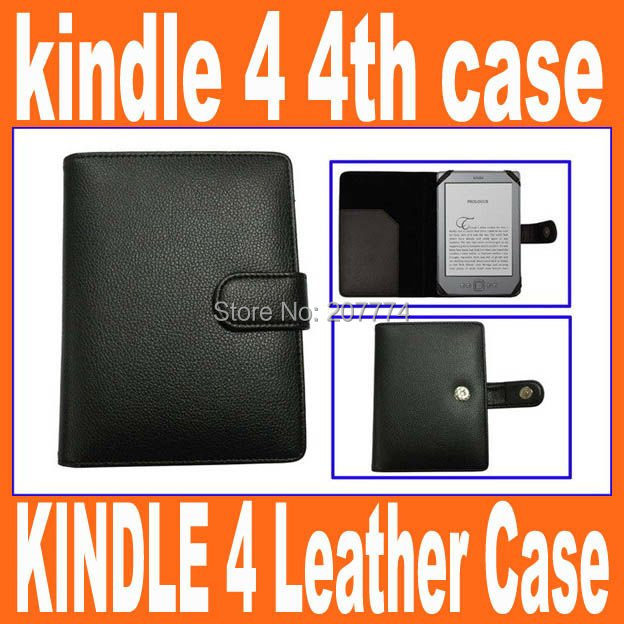 Free shipping&drop shipping1pcs/lot case for kindle 4/ Leather case cover for amazon kindle 4 4th Case Black