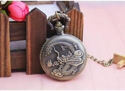 Для Мужчин's для мужчин большой цифровые часы карманные часы под старину для мужчин's портативный Дракон узор Творческий Флип Таблица