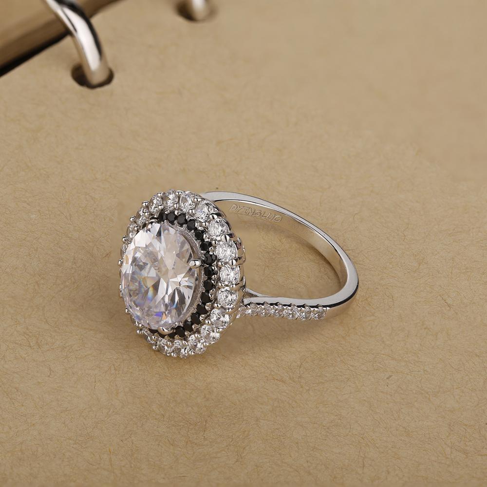 DYINGLUO 925 argent Sterling taille ovale cubique zircone noir Halo anneau de mariage promesse anneau cadeau argent bague de fiançailles pour les femmes
