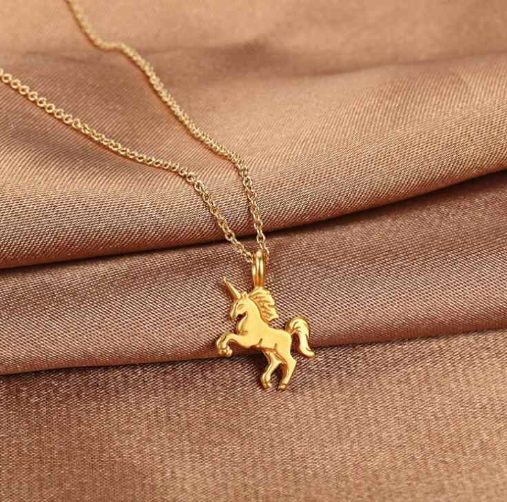 2018 Hot Fashion New Gold-color Life Is Magical Unicorn Horse Alloy Clavicle Chain Pendant Necklace Jewelry Gift drop shipping