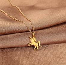 2018 Hot Fashion New Gold-color Life Is Magical Unicorn Horse Alloy Clavicle Chain Pendant Necklace Jewelry Gift drop shipping(China)