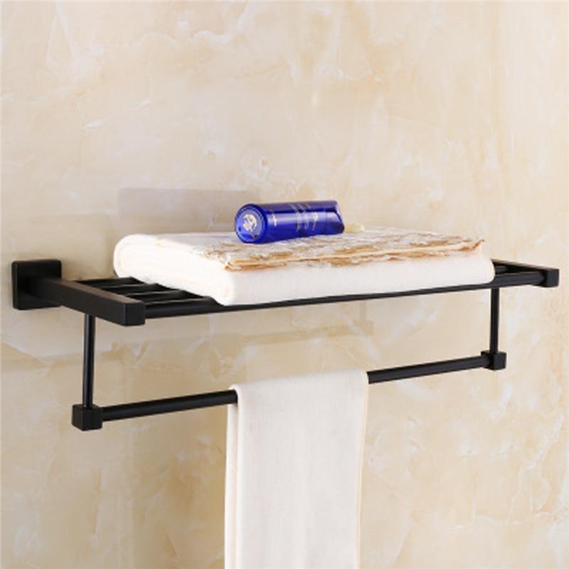 Xueqin Matte Black Square Towel Rack Rail Toilet Brush Holder Tissue Shelf Roll Robe Hook Wall Mounted Storage Rack Double Towel цена 2017