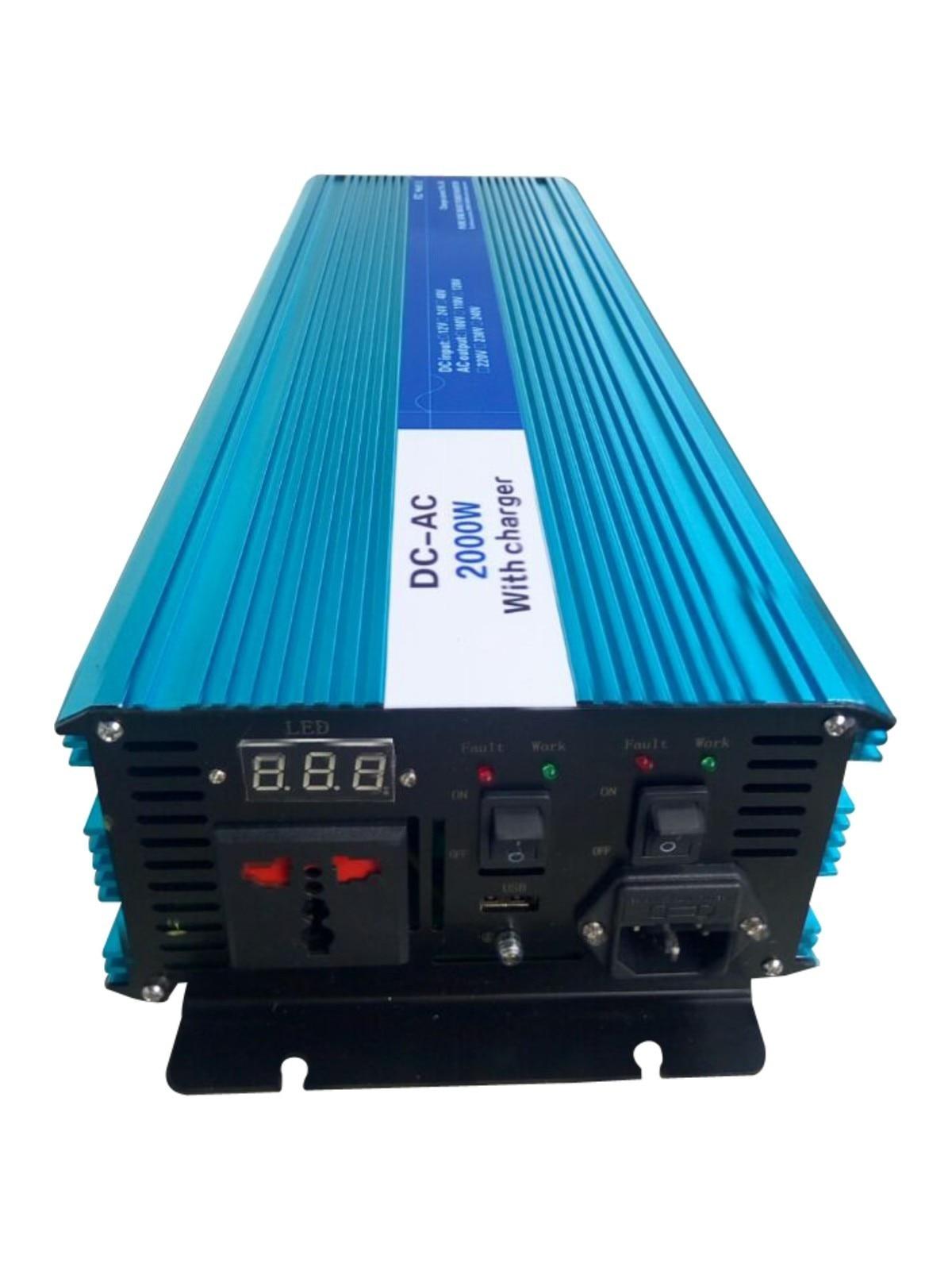 Onduleur à onde sinusoïdale Pure 2500 W, DC 12 V/24 V/48 V à AC 110 V/220 V, onduleur solaire hors réseau avec chargeur de batterie et UPS