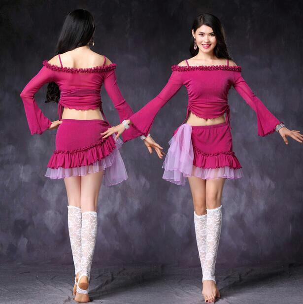 Good Quality Belly Dance Costume Set Bellydance Pratice Clothing 3colors Top&hipscarf Suits M, L  1020+3020