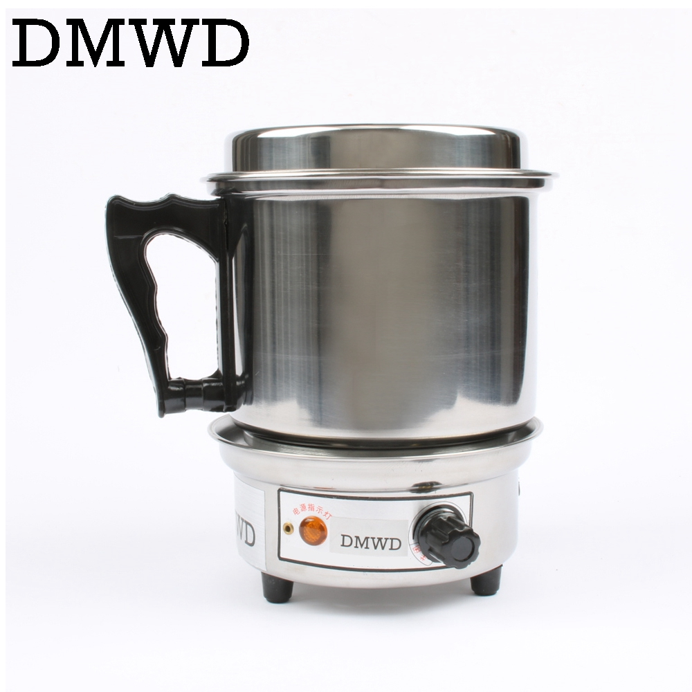 DMWD 2 Layer Multifunctional electric skillet Hot pot small cooking pot Steamer electric heating cup noodles MINI pot cooker EU