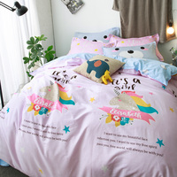 New Cotton Bedlinen Lovely Cartoon Printed Girl Bedding Set Full Double Twin Queen Size Pink Quilt