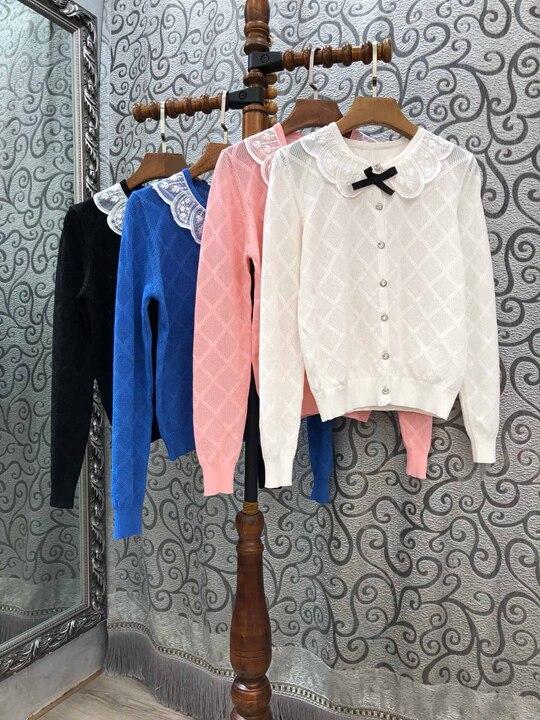 Haute qualité nouveau 2019 automne mode pull Cardigans femmes dentelle Patchwork géométrique Paterrns décontracté bleu rose blanc Cardigan