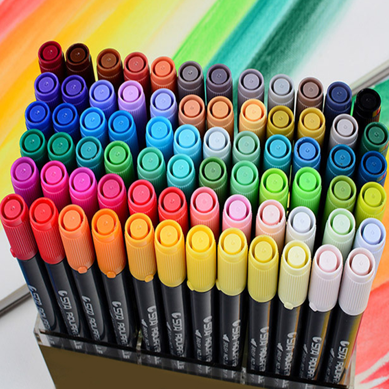 STA 80 Color Watercolor Brush Dual Head Black Markers Pen Sketch Drawing Paint Manga Dessin Feutre Boligrafos Plastic Package promotion touchfive 80 color art marker set fatty alcoholic dual headed artist sketch markers pen student standard