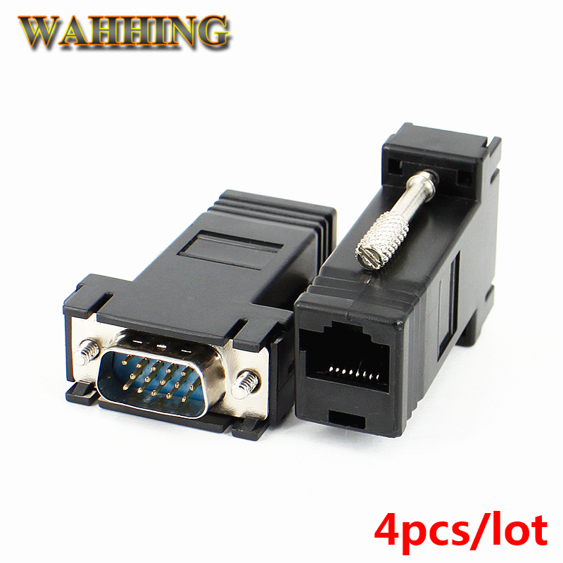 4pcs D-Sub VGA to RJ45 Network Cable Adapter Converter VGA Male To RJ45 Extender Adapter Connector LAN CAT5 5e CAT6 HY378