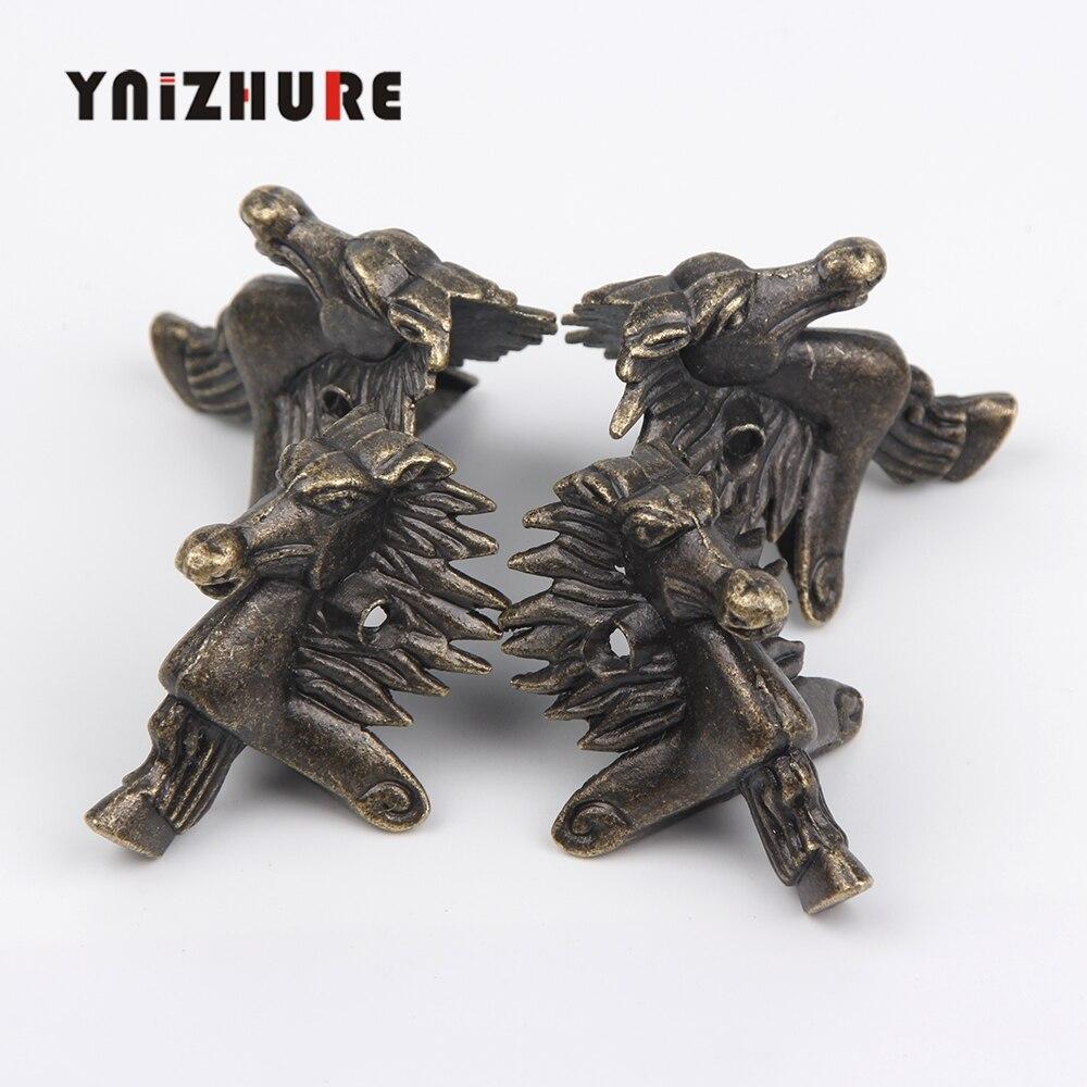 Free Shipping 20Pcs 28*40mm Antique Bronze Horse Head Jewelry Gift Box Wood Case Decorative Feet Leg Corner Protector