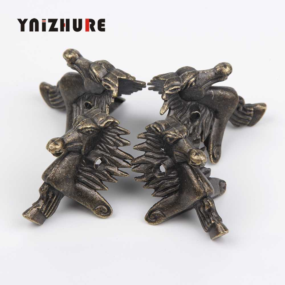 Free shipping 20Pcs 28*40mm Antique Bronze Horse Head Jewelry Gift Box Wood Case Decorative Feet Leg Corner Protector