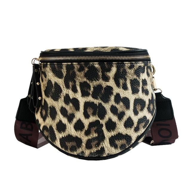 Women's Fashion Waist Bag Leopard PU Leather Fanny Pack Bananka Waterproof Antitheft Women Catwalk Shopping Belly Band Belt Bag