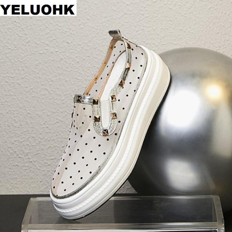 Rivet D'air Maille Plate-Forme Chaussures Femmes Mode À Pois Chaussures D'été Pour Femme sans lacet décontracté Dames Chaussures Plates De Haute Qualité