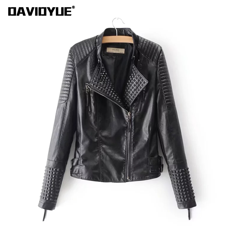 2018 Designer zipper faux PU   leather   jacket women Spring fur coat Streetwear black logn sleeve motorcycle biker jackets