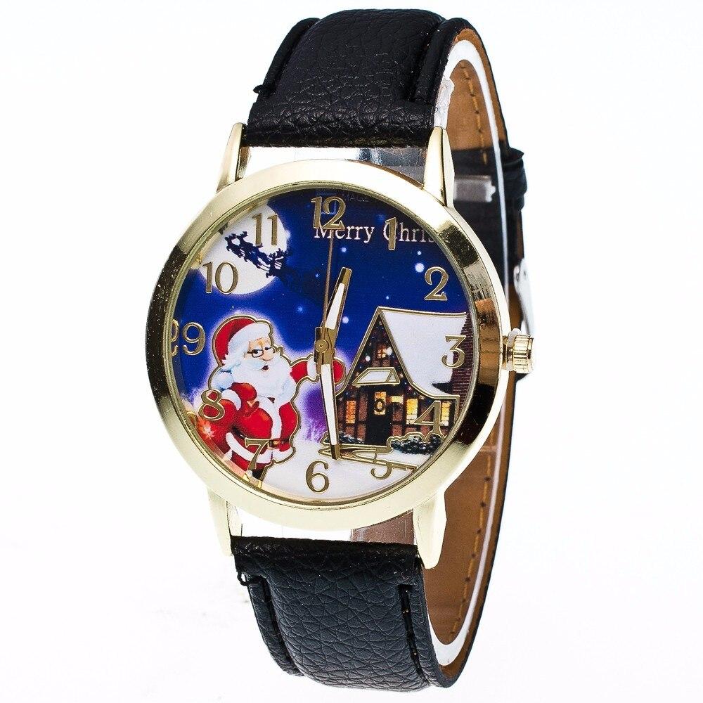 New Women Watches Year Fashion Santa Claus Design Men Watch Ladies Quartz Watch Christmas Gift Stainless Steel Dial