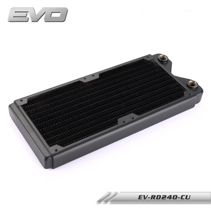 EVO EV-RD240-CU 240 copper water heat exchanger heat radiator row of copper row for PC water cooling tansky 42mm 2 row performance aluminum radiator for nissan skyline r33 r34 tk r106rad