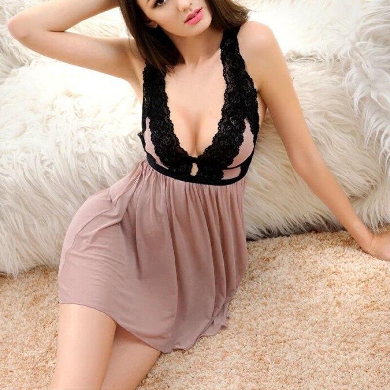 Jeseca Sexy Women Lace Casual Sleepwear Mini Nightgown Summe  Sleep Dress Lace Home Plus Size Seamless Lingerie Nightdress