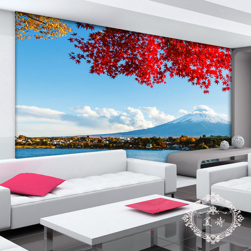 wall painting living room colour ideas with brown sofa new japan's mount fuji panorama 3d photo wallpaper ...