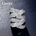 UMODE Brand Wide Design Handcraft Micro CZ Vintage Finger Rings Rhodium Plated Brand Jewelry for Women Wholesale Aros UR0348