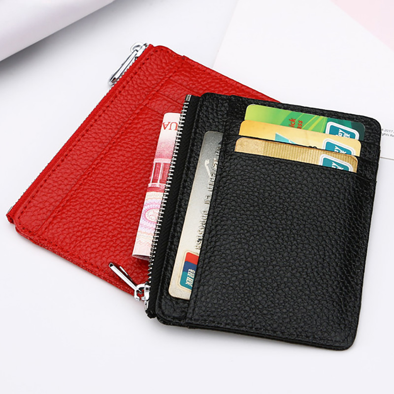 Genuine Leather ID Card Holder Large Wide Zipper Business Bank Credit Card ID Holder Pocket Custom Gold Silver Engrave NAME LOGO