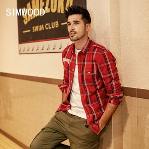 Image 1 - SIMWOOD New 2020 Autumn Casual Plaid Shirts Men High Quality Letter Embroidered Shirt Male High Quality Brand Clothing 190205