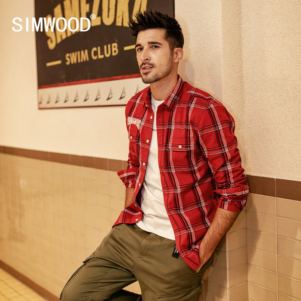 SIMWOOD New 2020 Spring Casual Plaid Shirts Men High Quality Letter Embroidered Shirt Male High Quality Brand Clothing 190205