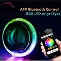 Controle APP Bluetooth LED RGB Angel Eyes Integrado Moldura Shroud Máscaras para 2.5 & 3 Polegada Bixenon Lente Do Projetor DRL cor-em mudança