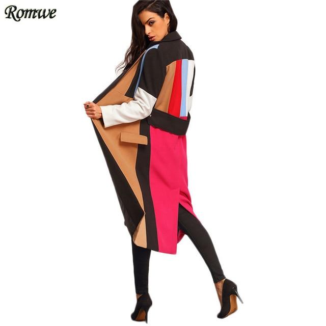 ROMWE Долго Пальто Для Женщин Корейский Стиль Женщин Осень Пальто Мода Многоцветный Нагрудные Откройте Переднюю Цвет Блока Пальто