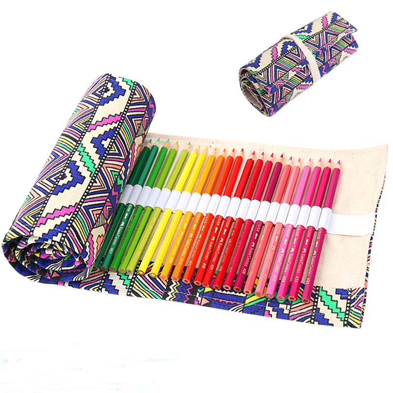 36 Holes Pencil Case School Canvas Roll Pouch Makeup Comestic Brush Pen Storage pecncil box Estuches School penalty Freeshipping 2 layer 36 holes art pen pencil case box students stationary zipper storage comestic make up brush organizer bag school supplies